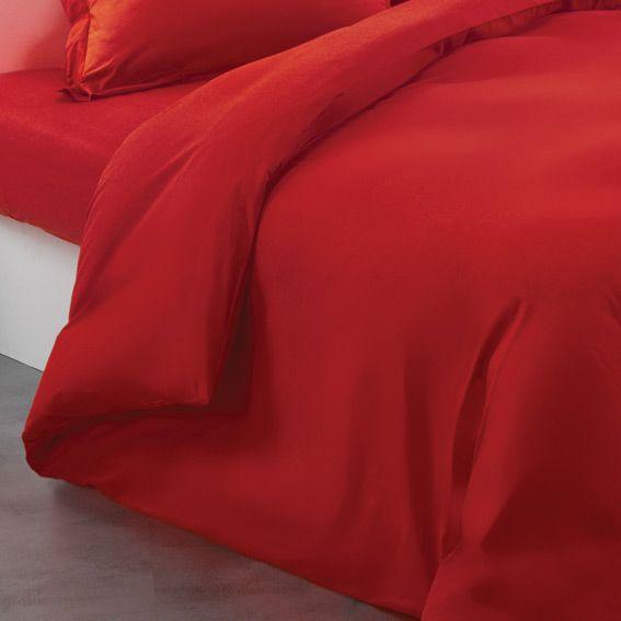 housse de couette 140 cm uni coquelicot eminza. Black Bedroom Furniture Sets. Home Design Ideas
