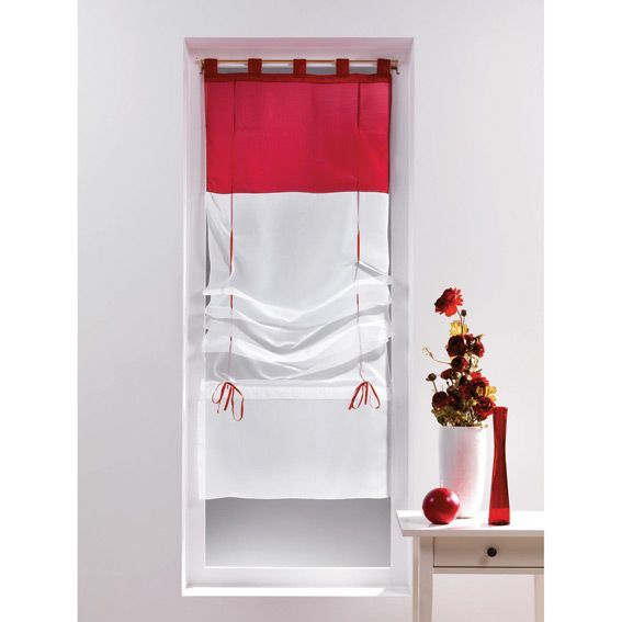 store voilage droit 60 cm voile bicolore blanc et rouge. Black Bedroom Furniture Sets. Home Design Ideas