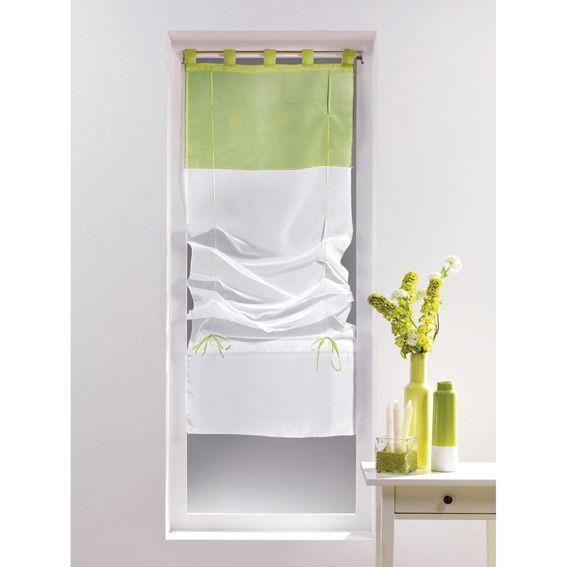 store voilage droit 60 cm voile bicolore blanc et amande eminza. Black Bedroom Furniture Sets. Home Design Ideas