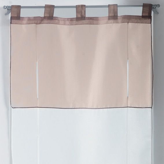 store voilage droit 45 cm voile bicolore blanc et taupe. Black Bedroom Furniture Sets. Home Design Ideas