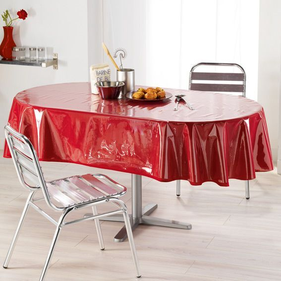 Prot ge nappe oval transparent toile cir e eminza - Protege table rectangulaire ...