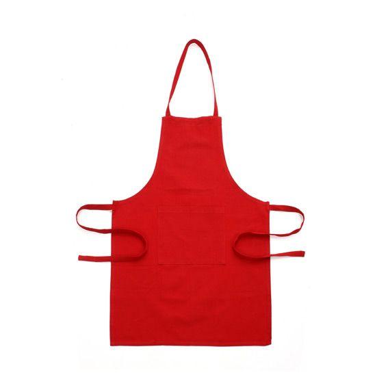 Tablier avec poche uni rouge eminza for Tablier de cuisine blanc pas cher