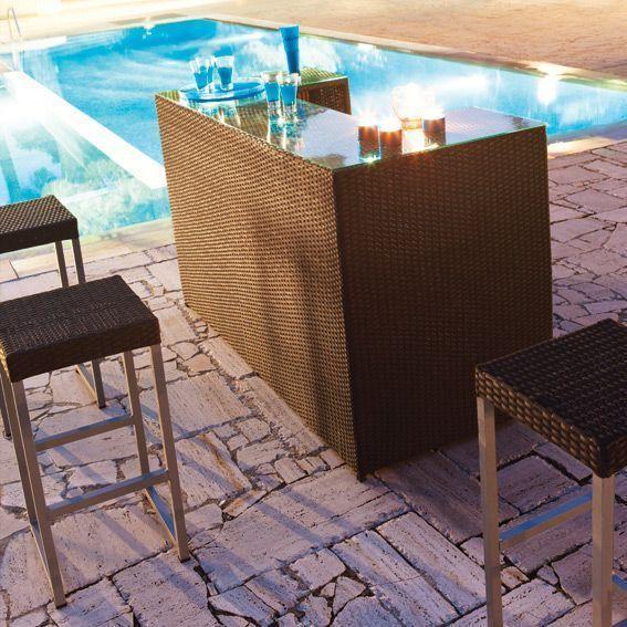 Ensemble bar barahona noir 4 pi ces salon de jardin for Bar de jardin en resine