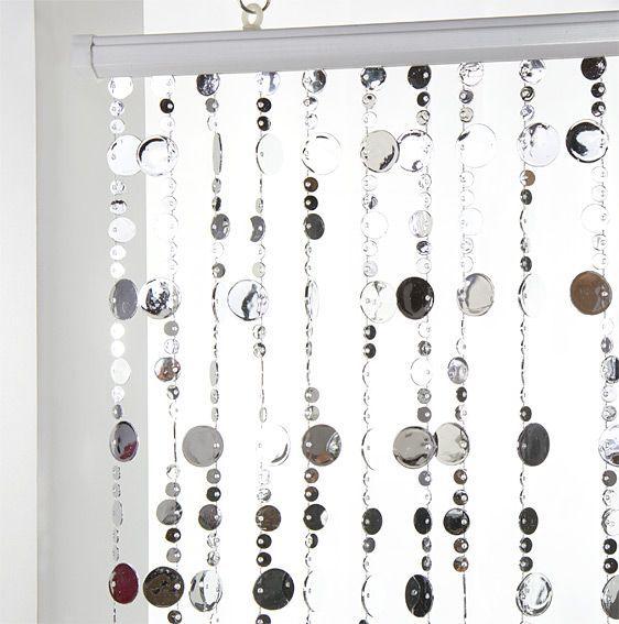 rideau de porte perles plates argent eminza. Black Bedroom Furniture Sets. Home Design Ideas