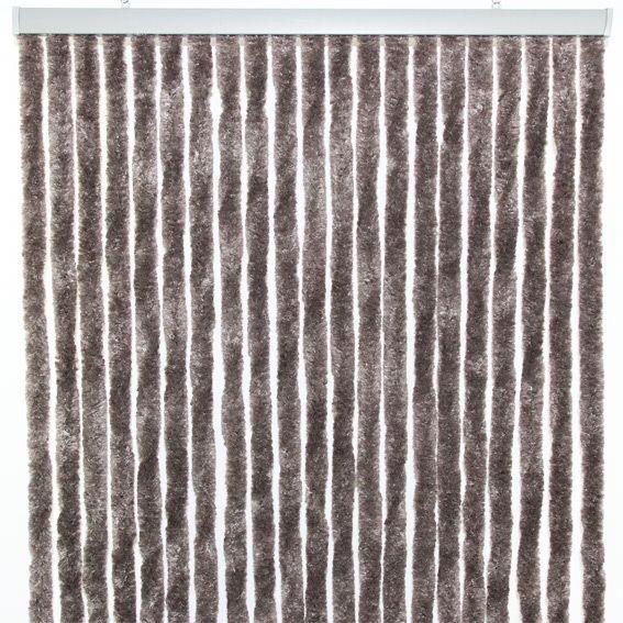 Rideau de porte 90 x h210 cm chenille taupe rideau de porte eminza - Rideau de porte chenille ...
