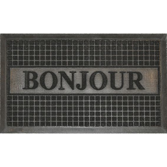 tapis d 39 entr e bonjour noir eminza. Black Bedroom Furniture Sets. Home Design Ideas