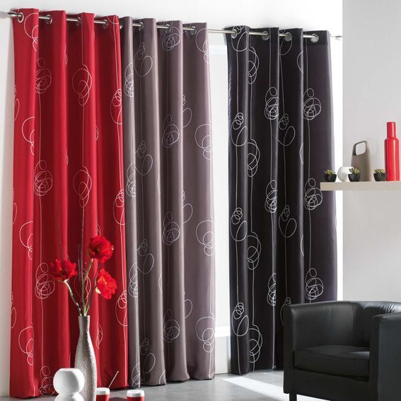 rideau oeillets looping rouge eminza. Black Bedroom Furniture Sets. Home Design Ideas