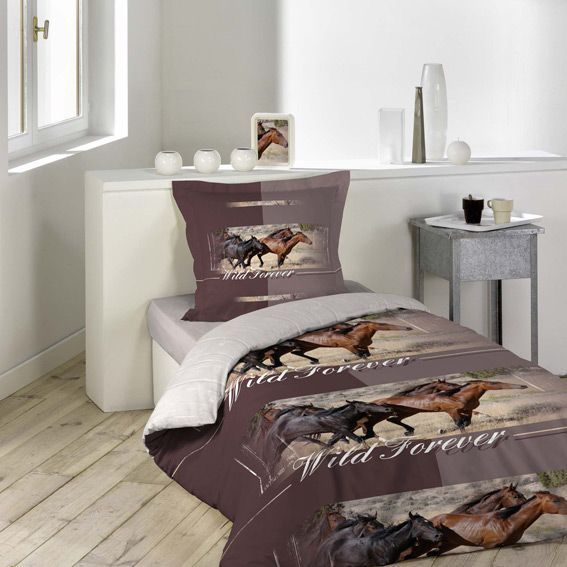 housse de couette et une taie chevaux eminza. Black Bedroom Furniture Sets. Home Design Ideas