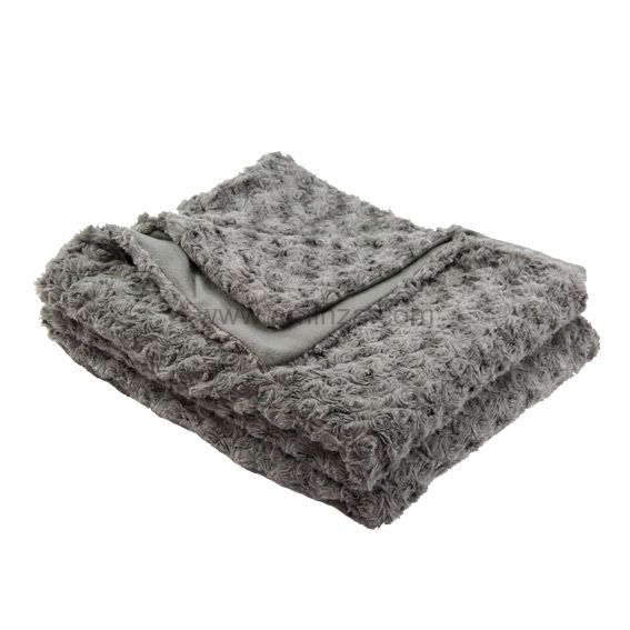 plaid imitation fourrure rosea gris eminza. Black Bedroom Furniture Sets. Home Design Ideas