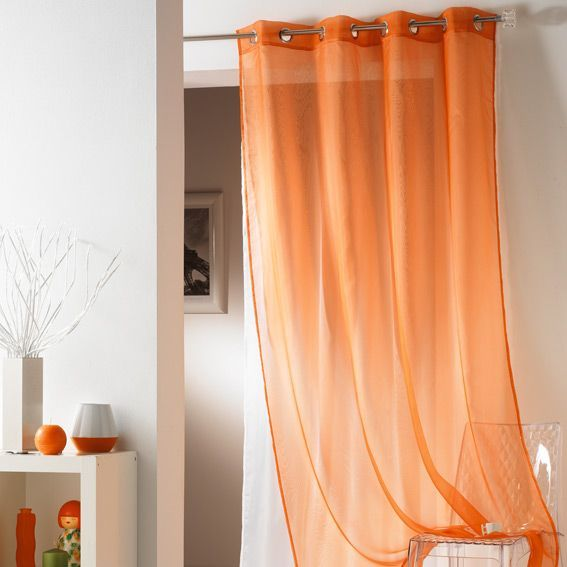 voilage oeillets double tulipe orange eminza. Black Bedroom Furniture Sets. Home Design Ideas