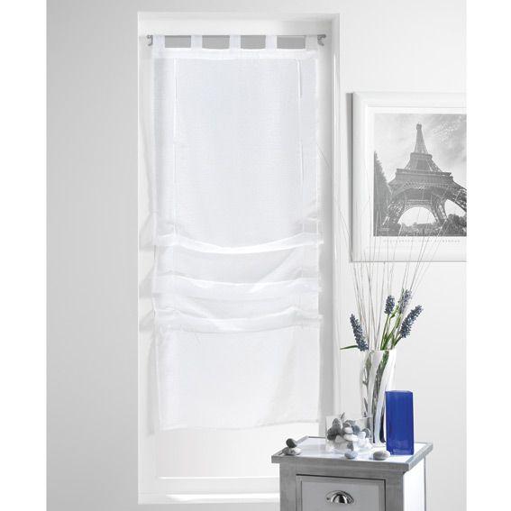 store voilage droit 45 cm lissea blanc eminza. Black Bedroom Furniture Sets. Home Design Ideas