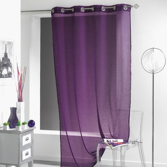 voilage oeillets lissea prune eminza. Black Bedroom Furniture Sets. Home Design Ideas