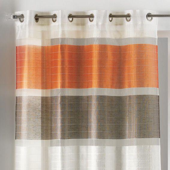 voilage oeillets trio orange eminza. Black Bedroom Furniture Sets. Home Design Ideas