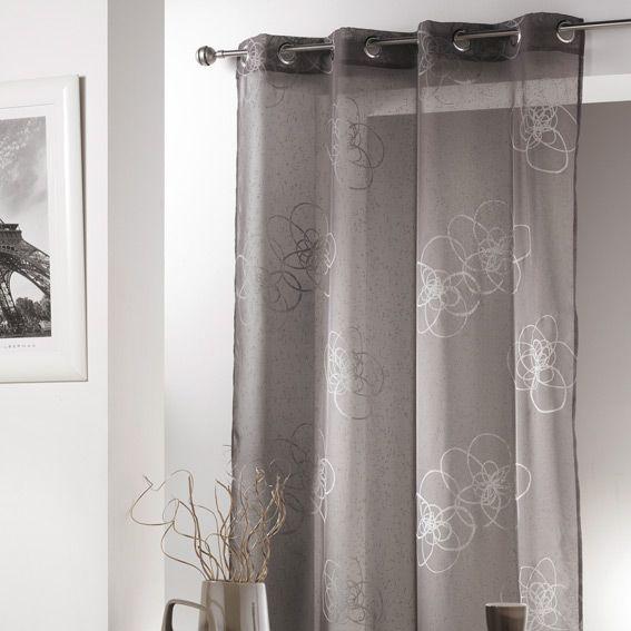 voilage oeillets mezzo gris voilage eminza. Black Bedroom Furniture Sets. Home Design Ideas