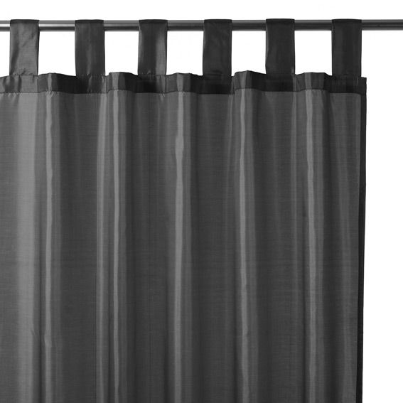 rideau passants satin gris fonc eminza. Black Bedroom Furniture Sets. Home Design Ideas