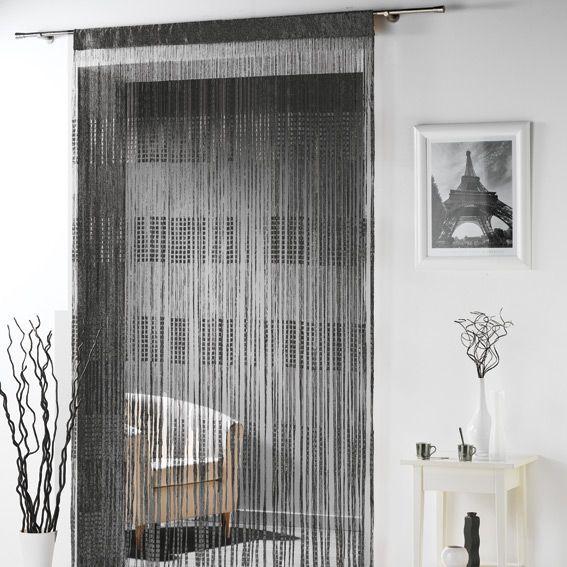 rideau fils largeur 90 cm spaghetti noir rideau de porte eminza. Black Bedroom Furniture Sets. Home Design Ideas