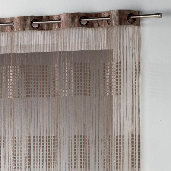 rideau fils oeillets largeur 140 cm spaghetti chocolat. Black Bedroom Furniture Sets. Home Design Ideas