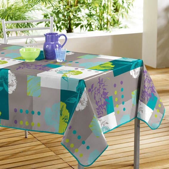 nappe rectangulaire oxalis turquoise toile cir e eminza. Black Bedroom Furniture Sets. Home Design Ideas