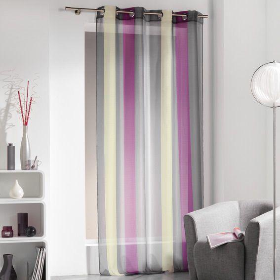voilage oeillets bayad re riviera prune eminza. Black Bedroom Furniture Sets. Home Design Ideas