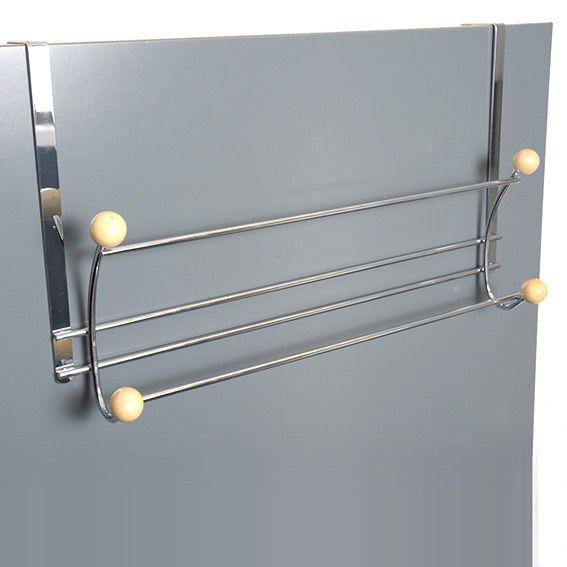 Porte serviette à suspendre 4 crochets et 2 barres Argent