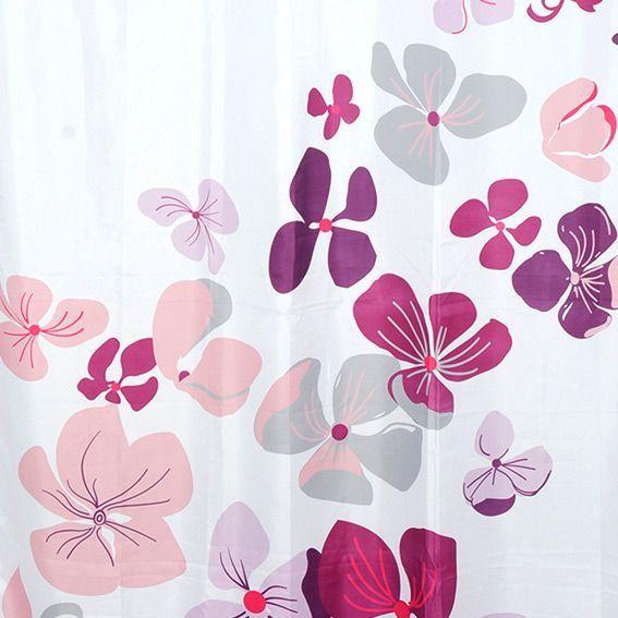 rideau de douche polyester fleuri violet eminza. Black Bedroom Furniture Sets. Home Design Ideas