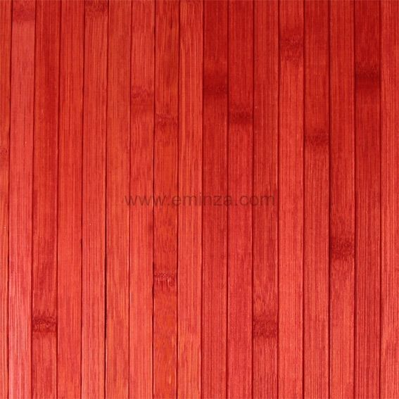 Tapis de bain lattes bambou rouge eminza for Tapis de bain en bois de bambou