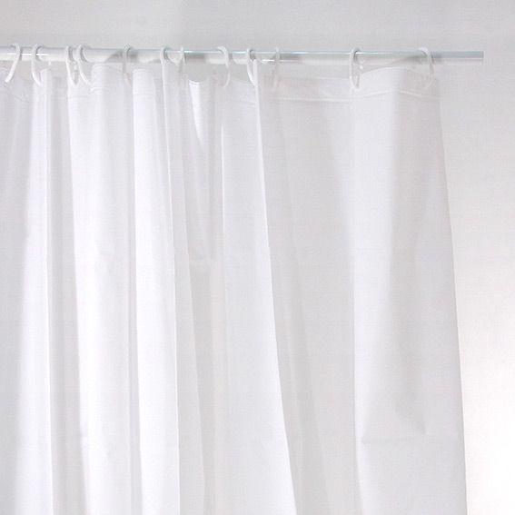 rideau de douche polyester uni blanc eminza. Black Bedroom Furniture Sets. Home Design Ideas