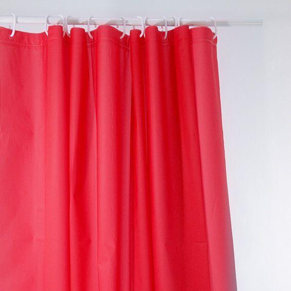 rideau de douche polyester uni rouge eminza. Black Bedroom Furniture Sets. Home Design Ideas