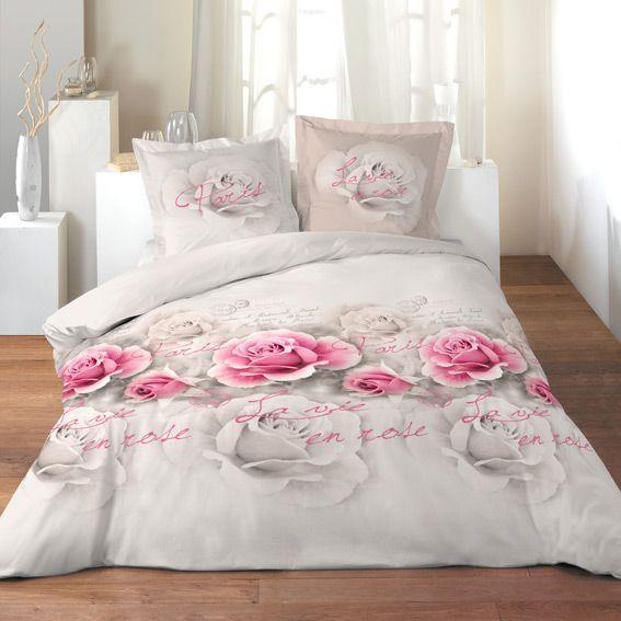 housse de couette et deux taies 260 cm la vie en rose eminza. Black Bedroom Furniture Sets. Home Design Ideas