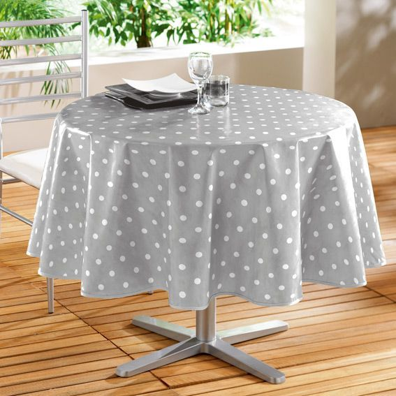 Nappe cir e ronde d160 cm lollypop gris eminza - Toile ciree table ronde ...