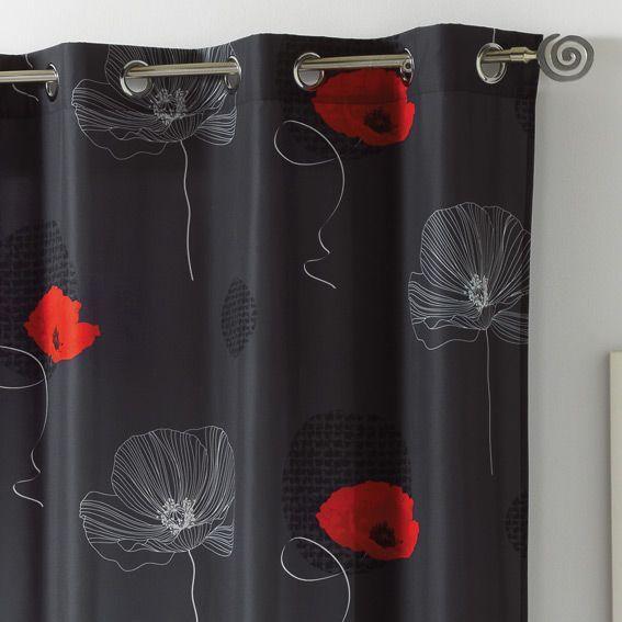 rideau oeillets poppy coquelicot anthracite eminza. Black Bedroom Furniture Sets. Home Design Ideas