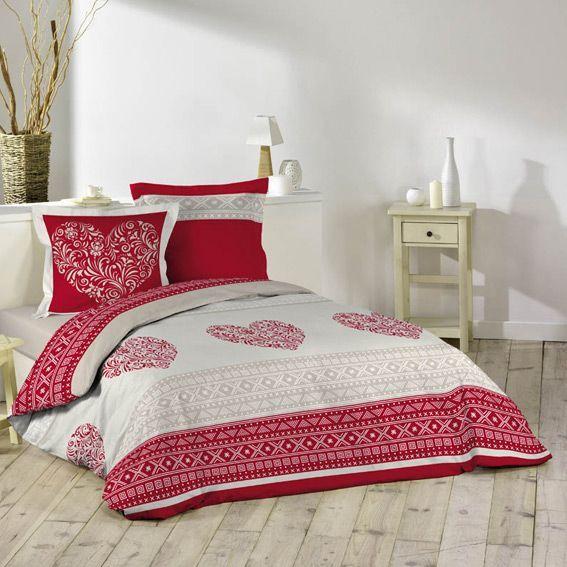 housse de couette et deux taies coeur d 39 hiver eminza. Black Bedroom Furniture Sets. Home Design Ideas