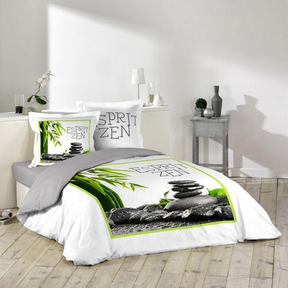 housse de couette et deux taies esprit zen eminza. Black Bedroom Furniture Sets. Home Design Ideas