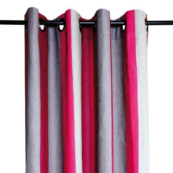 Rideau 135 x h250 cm pronto prune rideaux eminza for Rideau prune