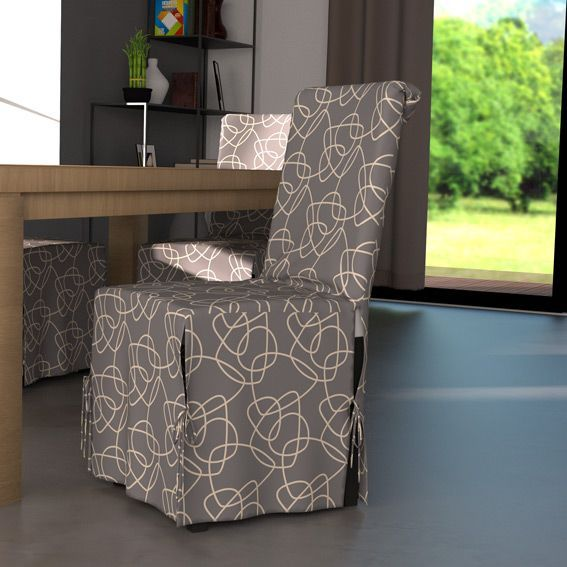 housse de chaise graphique gris et motif blanc eminza. Black Bedroom Furniture Sets. Home Design Ideas