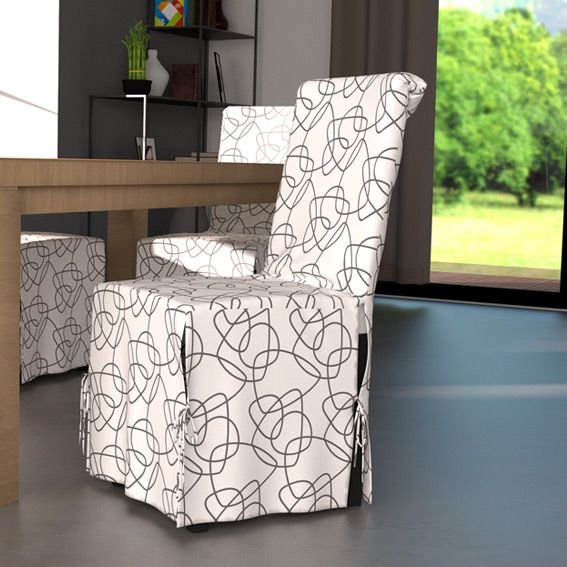 housse de chaise graphique blanc et motif gris eminza. Black Bedroom Furniture Sets. Home Design Ideas