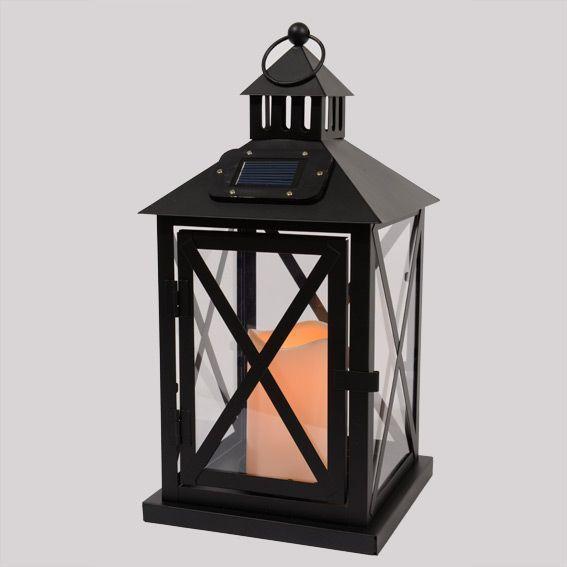 Lanterne led solaire luna noir eminza - Lanterne de jardin solaire ...