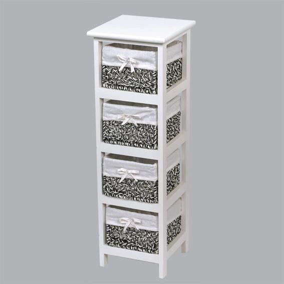 meuble panier maui troit blanc eminza. Black Bedroom Furniture Sets. Home Design Ideas