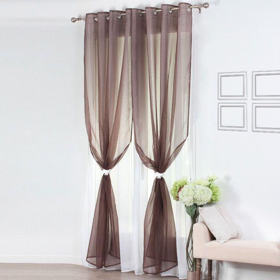 voilage oeillets double bicolore taupe et blanc voilage eminza. Black Bedroom Furniture Sets. Home Design Ideas
