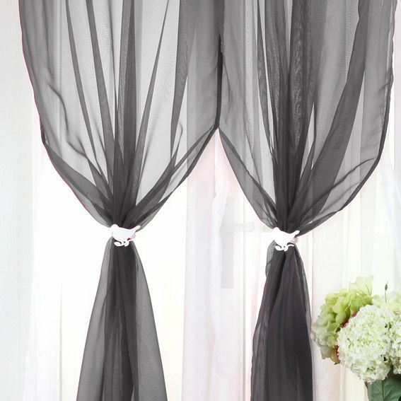 voilage oeillets double bicolore anthracite et blanc eminza. Black Bedroom Furniture Sets. Home Design Ideas