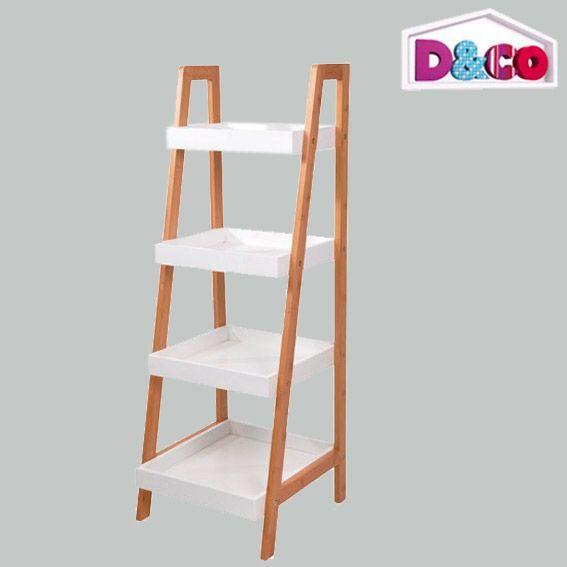 Meuble chelle 4 niveaux d co bambou meuble eminza - Echelle en bambou salle de bain ...