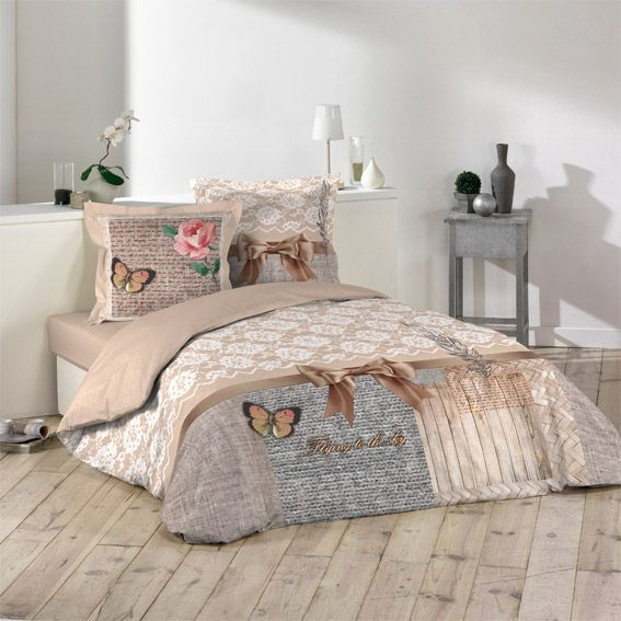 housse de couette et deux taies 260 cm boheme chic eminza. Black Bedroom Furniture Sets. Home Design Ideas
