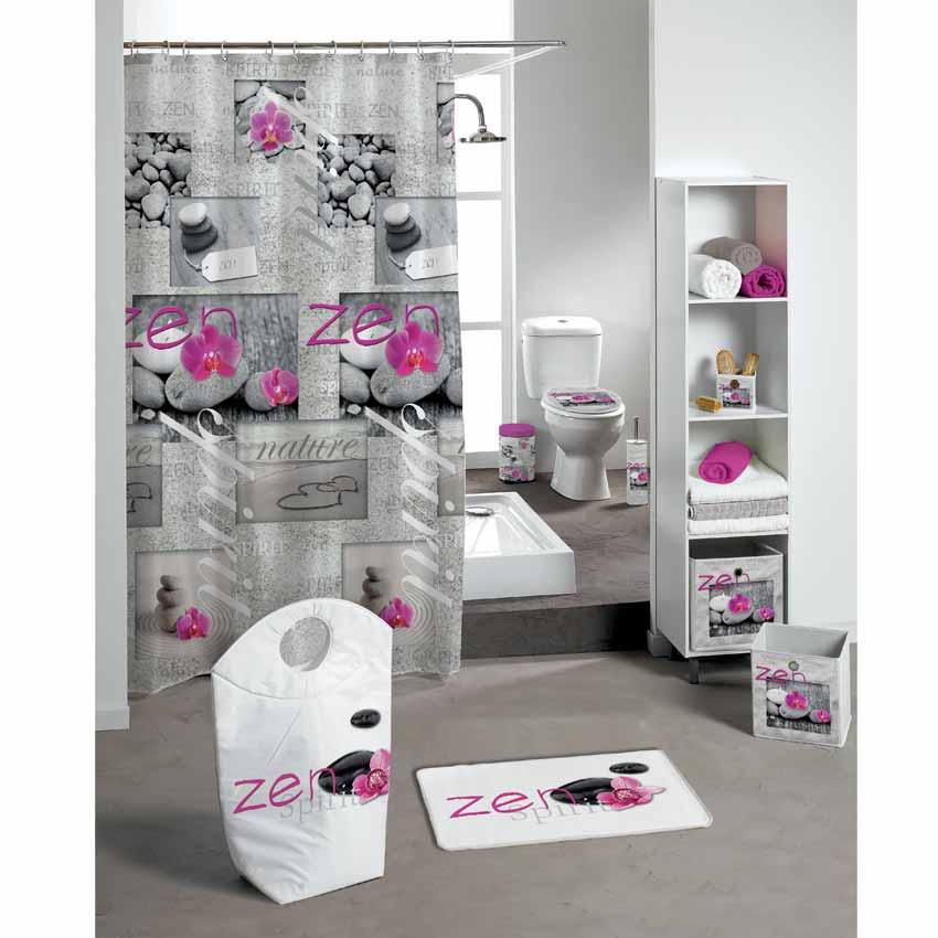 Tapis de bain zen spirit rose tapis salle de bain eminza - Tapis salle de bain rose ...