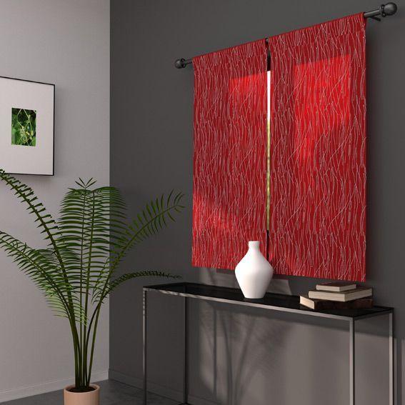 paire de voilages 70 x h120 cm glitter rouge voilage vitrage eminza. Black Bedroom Furniture Sets. Home Design Ideas