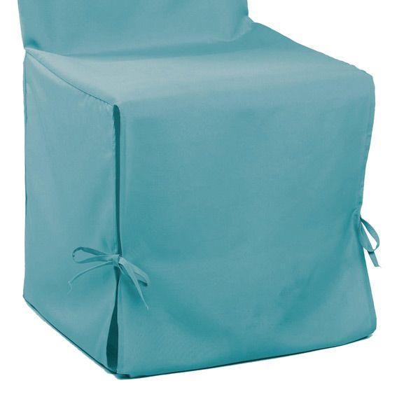 Housse de chaise gamme essentiel bleu turquoise housse for Housse de chaise turquoise