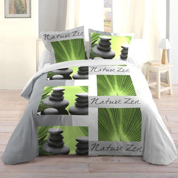 housse de couette et deux taies 240 cm nature zen housse de couette eminza. Black Bedroom Furniture Sets. Home Design Ideas