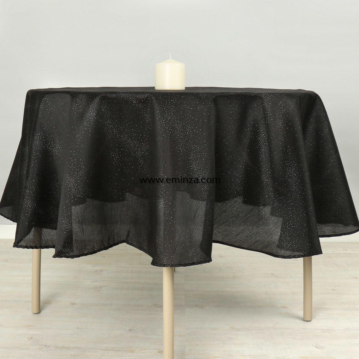 nappe ronde d180 cm shantung noir linge de table eminza. Black Bedroom Furniture Sets. Home Design Ideas