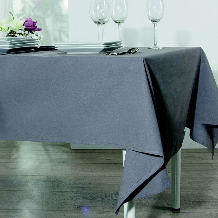 nappe carr e ixo anti tache gris nappe de table eminza. Black Bedroom Furniture Sets. Home Design Ideas