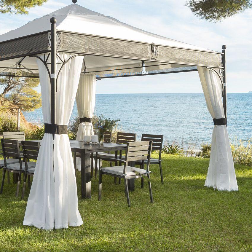 lot de 4 rideaux de tonnelle jakarta blanc structure toile et rideaux eminza. Black Bedroom Furniture Sets. Home Design Ideas