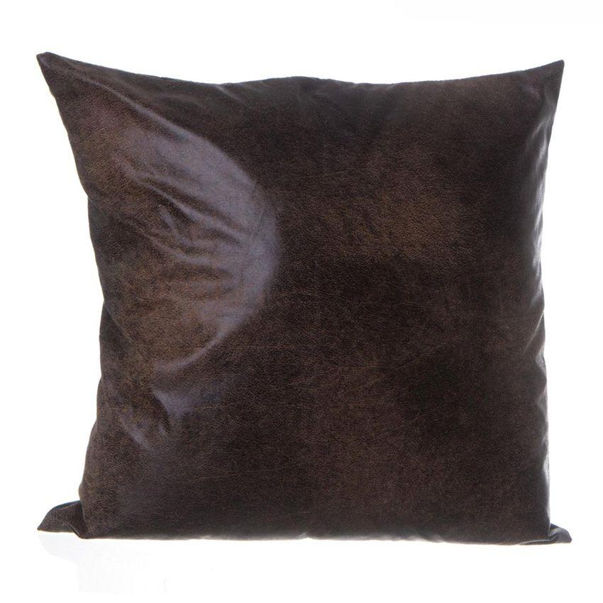 Coussin imitation cuir chocolat coussin et housse de for Housse coussin cuir